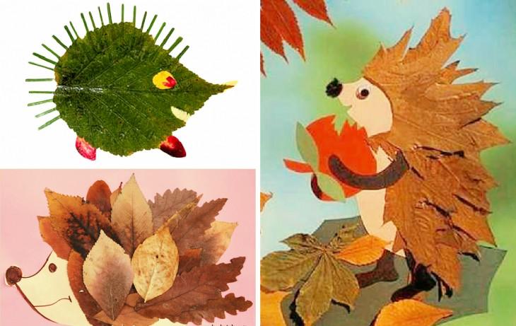 Поделка ёжик с листьями 55
